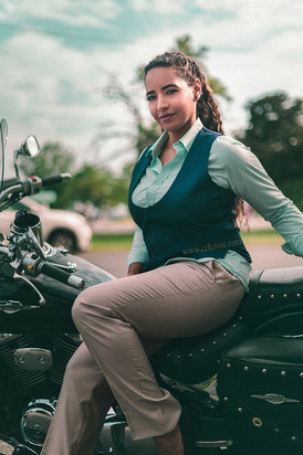 business outfit motorcycle fashion model