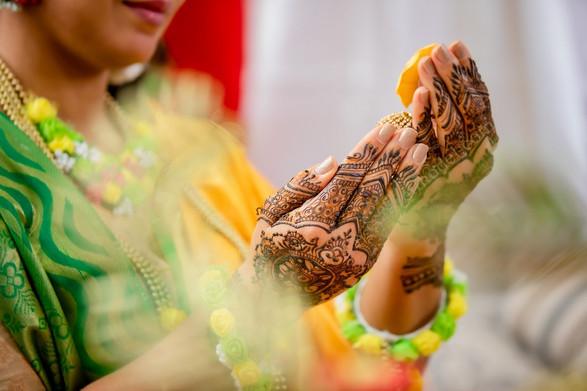 Hand modeling mehendi henna
