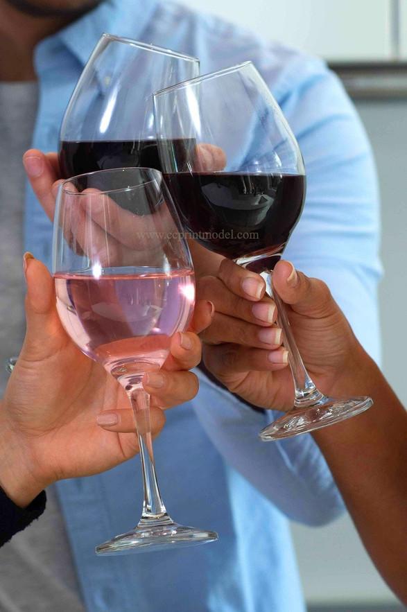 Hand model wine glasses