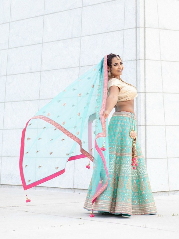 South Asian bridal modelling lehenga