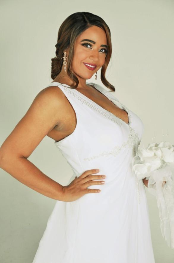 Blushing bride white bridal gown