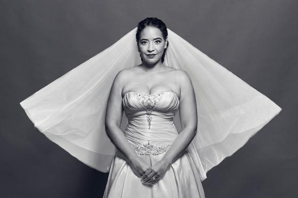 Beautiful bride flowing tulle veil