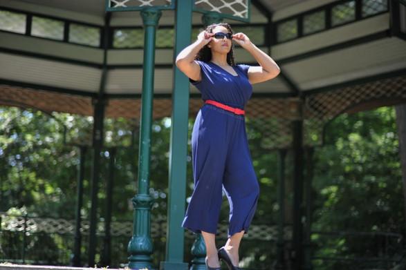 fashion model blue jumpsuit