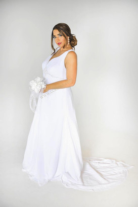 white chiffon bridal dress