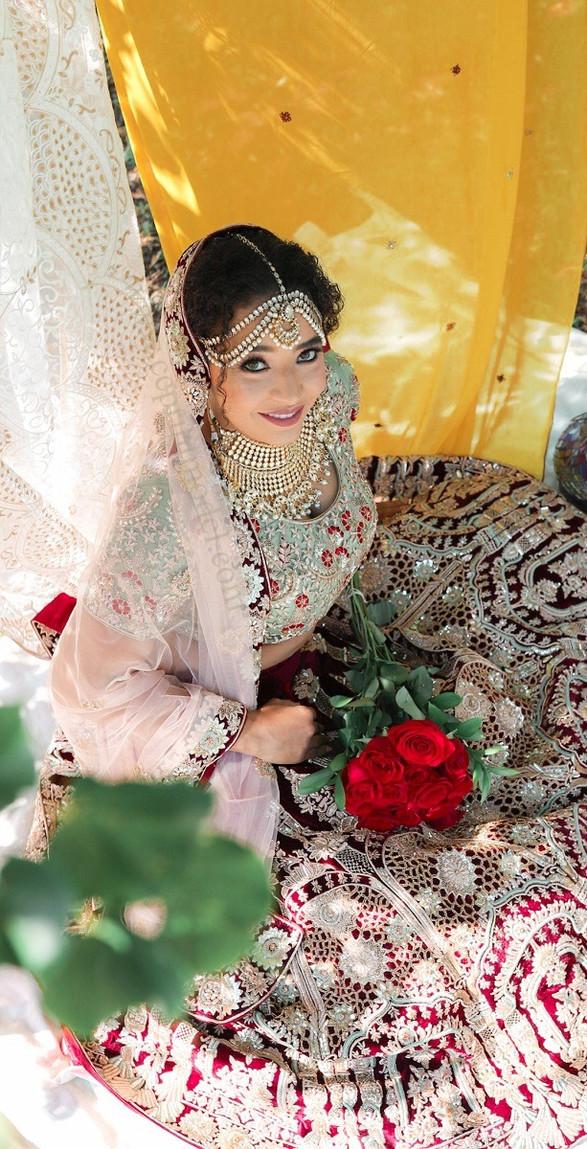 South Asian bridal lehenga dupatta