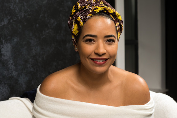 Smiling beauty model african headwrap