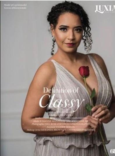 Published fashion model elegant dress