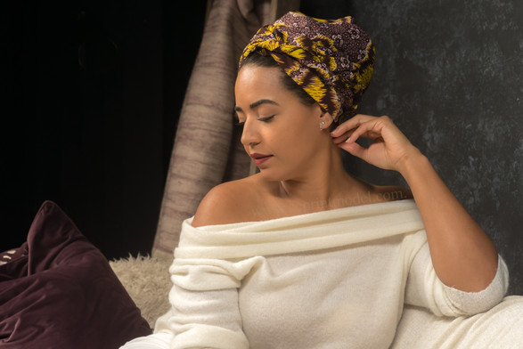 African headwrap calm pose