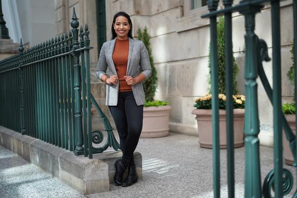 smiling woman business wear