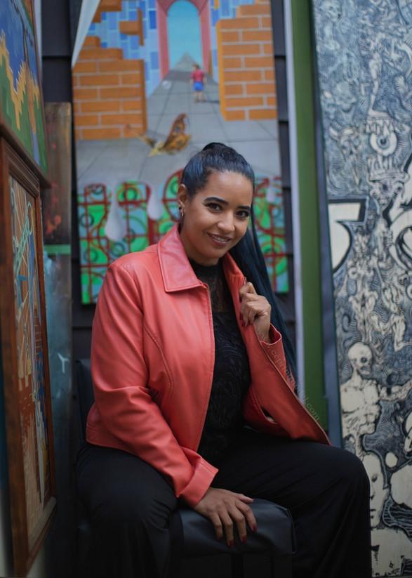 Fashion model peach leather jacket