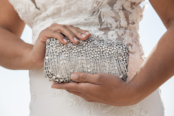 Hand modeling luxury purse