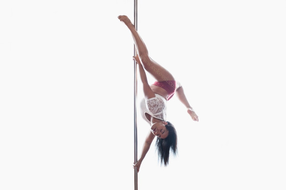 pole fitness model upside down