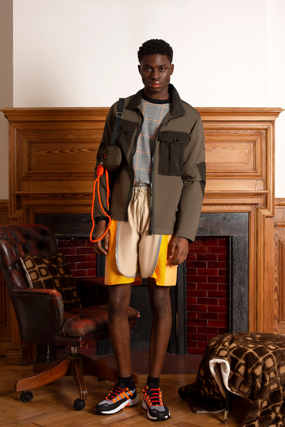 Jacket: G-Star Jumper: Puma Shorts: Madison McLoughlin Shoes: The North Face Socks: Stylists own Bag: Pull and bear