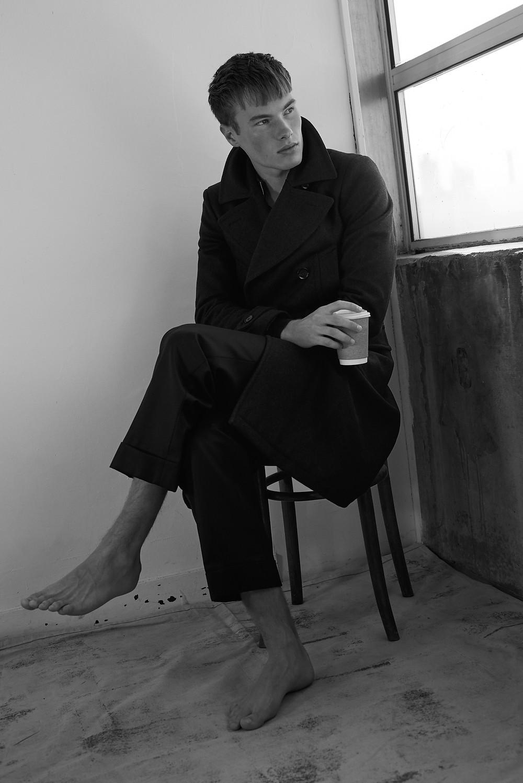 Belstaff Milford Wool Coat; John Smedley Sweater; Edward Sexton Black Wide Leg Trousers