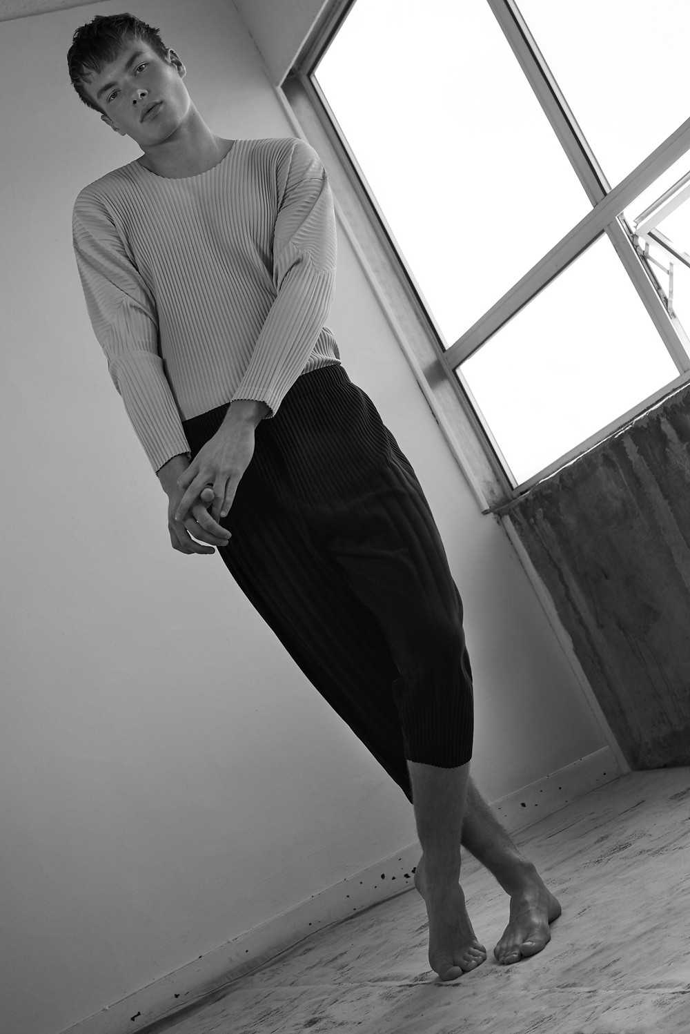 Long Sleeve Top, Navy Trousers, all HOMME Plisse Issey Miyake
