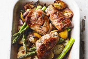 Roasted Chicken Thighs with Asparagus