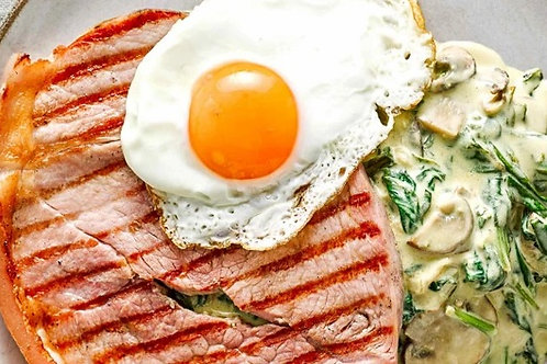 Westcountry Gammon Steaks with Creamed Spinach and Mushrooms