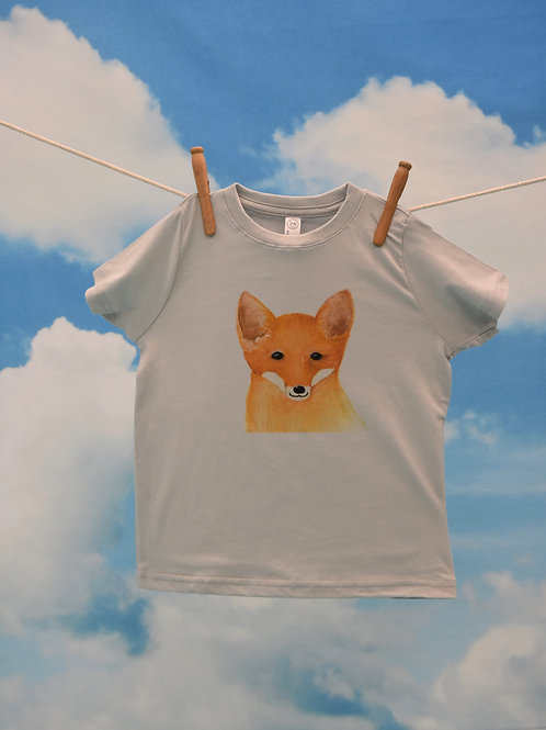 Toddler T-Shirt ~ Fox on Silver