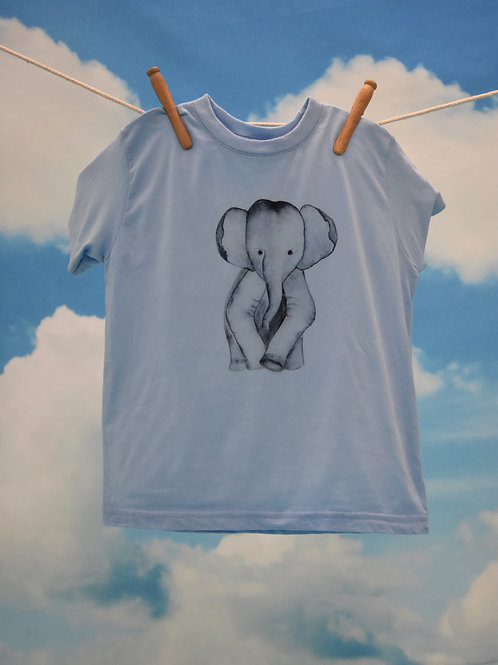 Toddler T-Shirt ~ Elephant on Sky Blue