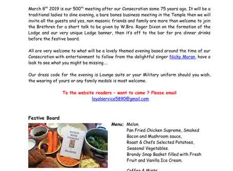 Lodge of Loyal Service - March News