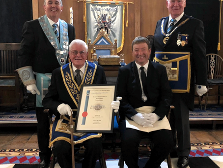 Lodge of Warwick initiate meets a half-century brother
