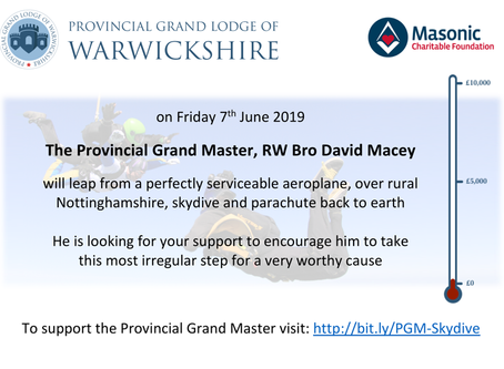 The Provincial Grand Master is taking to the skies
