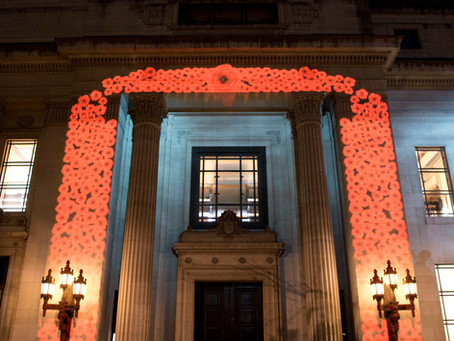 Freemasons Hall lit up in Remembrance