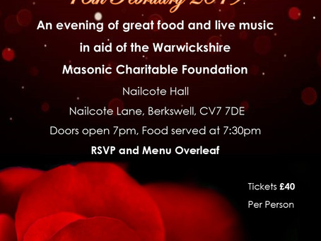 Coventry Freemasons invite you to the Valentines Ball