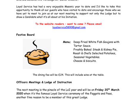 Lodge of Loyal Service March Newsletter