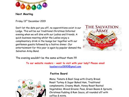 Lodge of Loyal Service December Newsletter