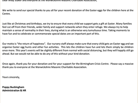 Thanks from Birmingham Crisis Centre