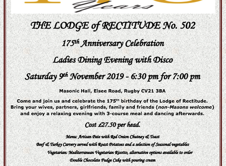 Join the Lodge of Rectitude celebrating 175 years
