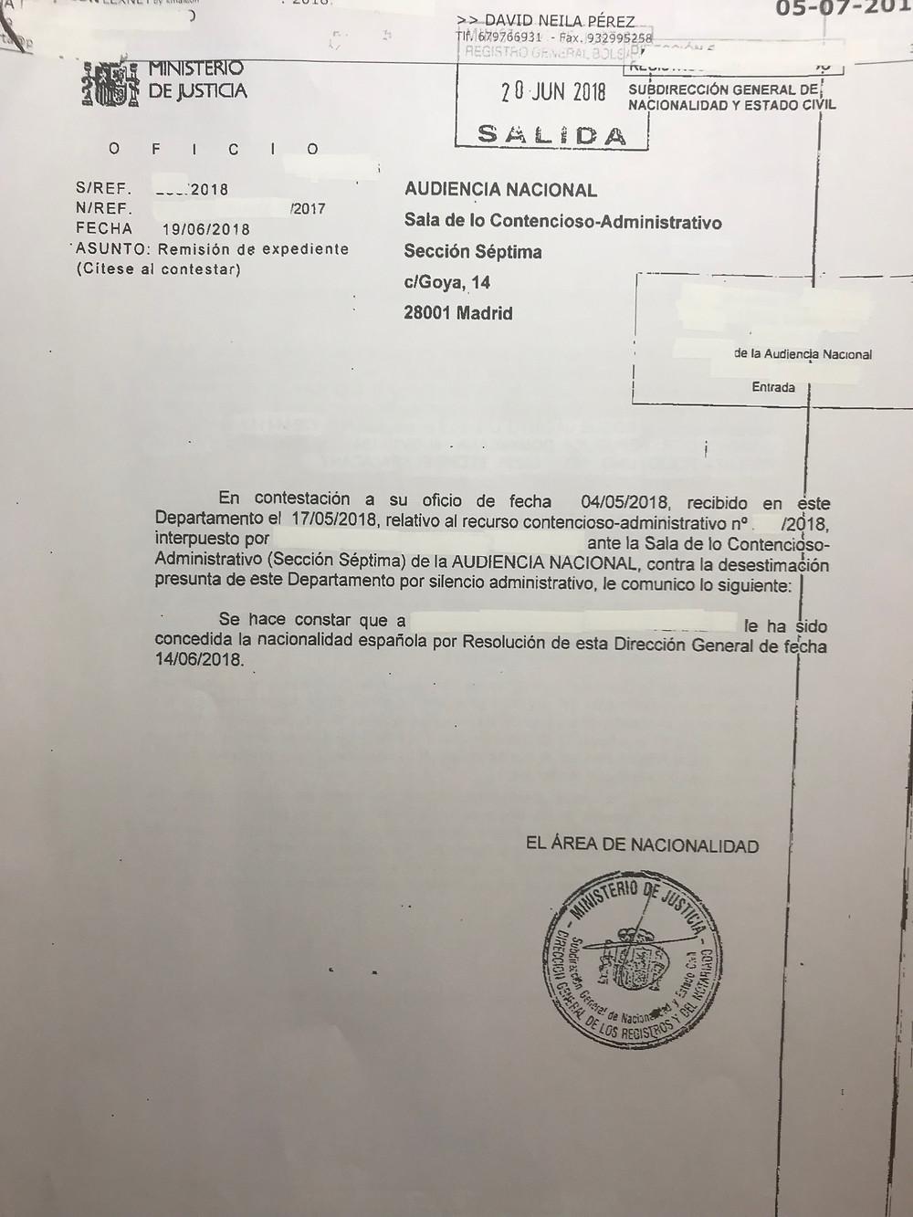 Resolución Judicial concesión nacionalidad Española