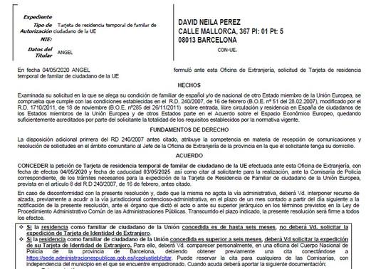 Tarjeta de residencia temporal de familiar de ciudadano de la UE concedida en 10 días