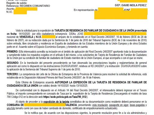 RESIDENCIA DE FAMILIAR COMUNITARIO CONCEDIDA EN 1 MES