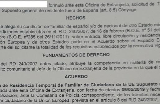 CONCESIÓN DE TARJETA DE RESIDENCIA TEMPORAL DE FAMILIAR DE CIUDADANO DE LA UNIÓN EN 2 MESES