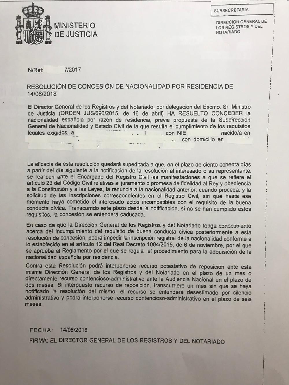 Concesión de Nacionalidad Española Por residencia