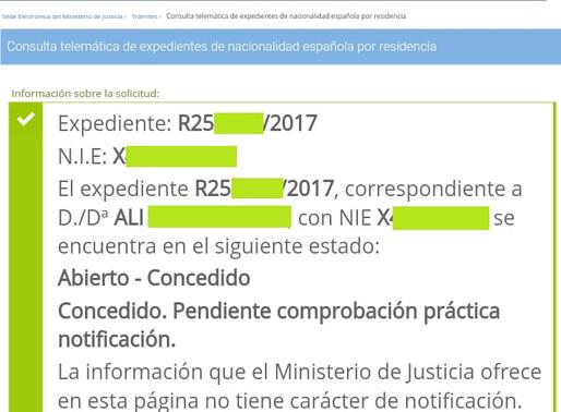 DOS NUEVAS RESOLUCIONES DE CONCESIÓN NACIONALIDAD CON RECURSO CONTENCIOSO PRESENTADO