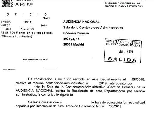 SEGUIMOS AGILIZANDO EXPEDIENTES DE NACIONALIDAD CON EL RECURSO CONTENCIOSO