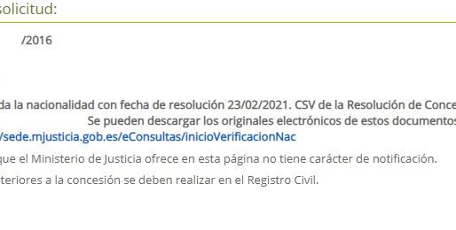 CONCESION DE NACIONALIDAD ESPAÑOLA CON RECURSO CONTENCIOSO