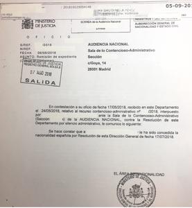 Recurso Contencioso por denegación presunta de la solicitud de nacionalidad