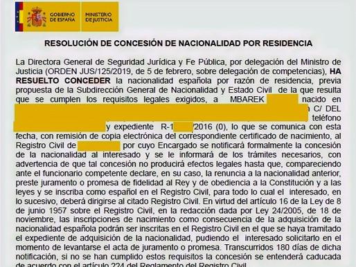 NUEVA CONCESIÓN DE NACIONALIDAD TRAS LA AGILIZACIÓN DEL EXPEDIENTE CON RECURSO CONTENCIOSO