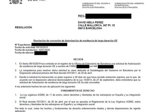 NUEVA SOLICITUD DE TARJETA DE RESIDENCIA LARGA DURACIÓN CONCEDIDA