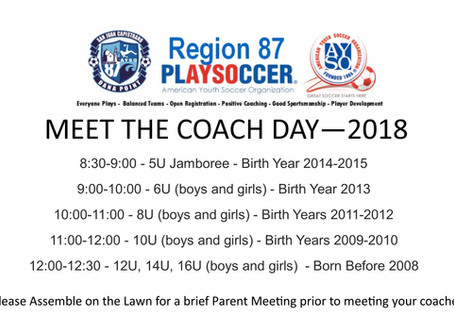August 25th is MEET THE COACH DAY!