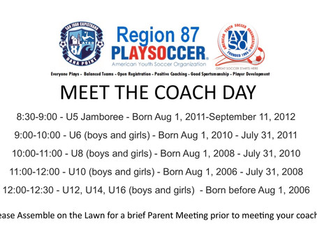 August 27th is MEET THE COACH DAY!