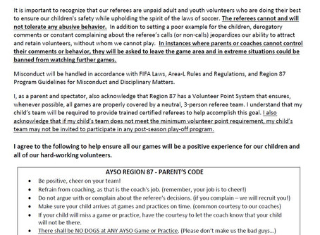 Region 87 - Parent Zero Tolerance Policy