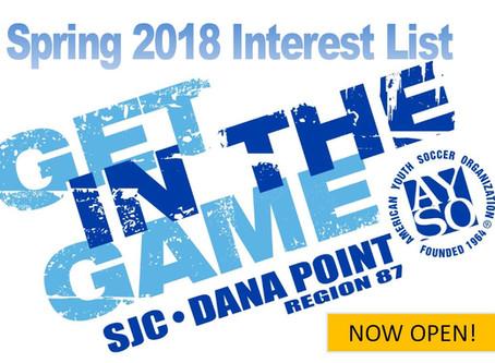 Spring 2018 Soccer Select Program - Region 87