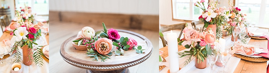 Bright floral centerpieces, bright wedding flowers, ranunculus, boutonnieres, wedding centerpiece floral inspiration, bridal bouquet of ranunculus, pink roses, cappuccino roses, eucalyptus, white tulips, whimsical wedding flowers