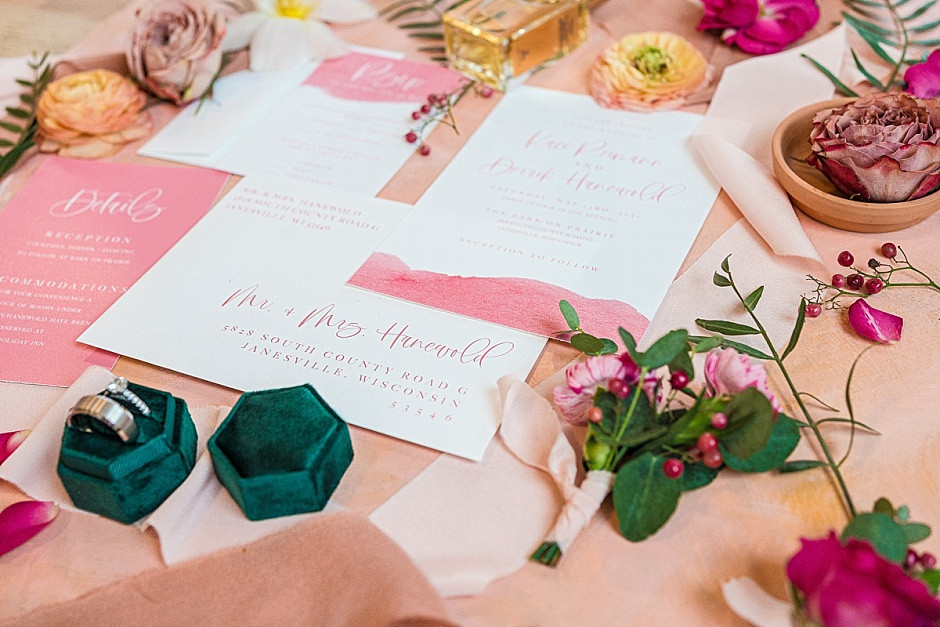 Wedding invitation suite, pink flowers, bright flowers, wedding flat lay inspiration, pink wedding invitations, wedding invitation styling, ring photos