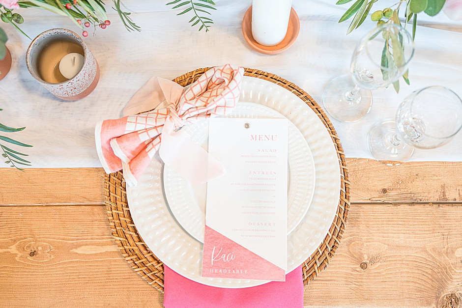 wedding tablescape inspiration with pink flowers, bright colors, white and pink, with barnwood, wedding menu